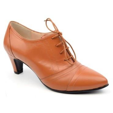 Chaussures, Richelieu, cuir mate, marron clair, Yves de Beaumond, femmes petites pointures, Cambridge, MI-211