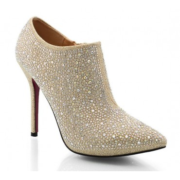Bottines, bouts pointus, strass, or, Nelsie, femme, pointure 33