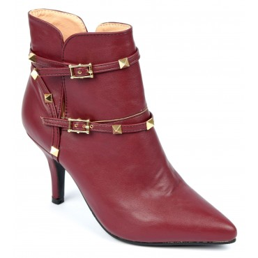 Bottines, bouts pointus, bordeaux, talon 7,5 cm, Stella