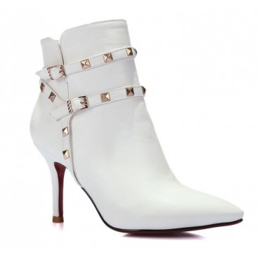 Bottines, aspect cuir mate, talon 8,5 cm, petites pointures, blanches, Gloria