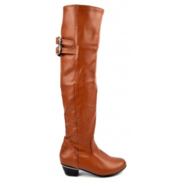 Bottes femmes petites pointures aspect cuir mate marrons Judy