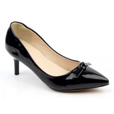 Escarpins noires aspect verni, talons 6 cm, femmes petites pointures, Danaé