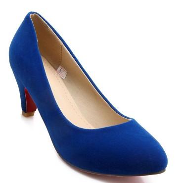 Escarpins bleus aspect daim, talons 6 cm, femmes petites pointures, Esmée