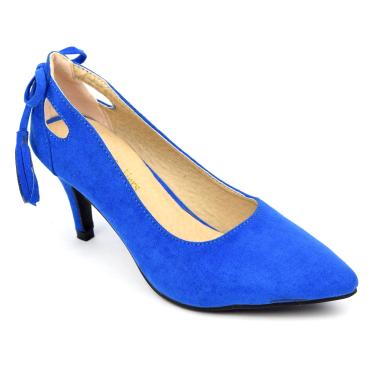 Escarpins, aspect daim, bleus, talons 7 cm, petites pointures, femmes, Lenka