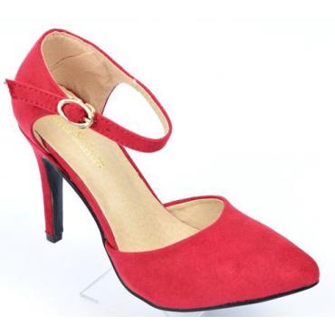 Escarpins petites pointures, aspect daim, brides, talons 9 cm, rouges, Betty