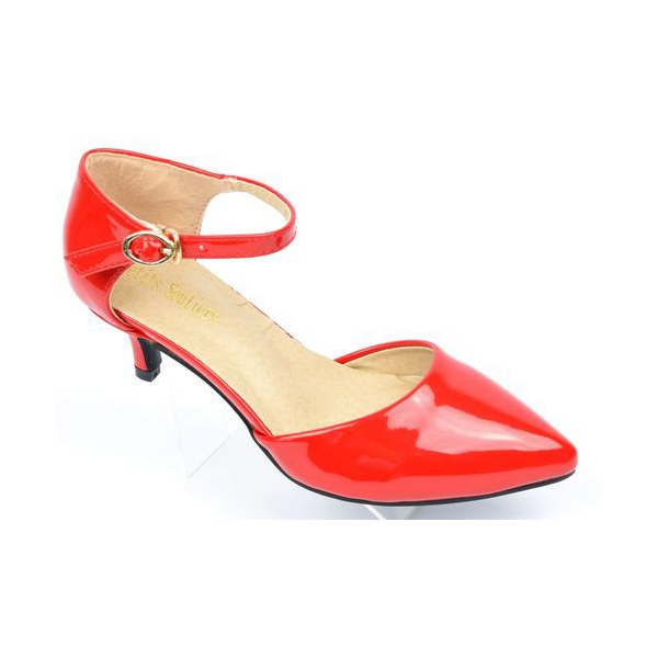 Escarpins petites pointures,vernis, brides, talons 5 cm, rouges, Shada PETITS SOULIERS