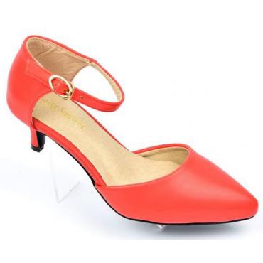 Escarpins petites pointures,mates, brides, talons 5 cm, Rouge Corail, Aliza