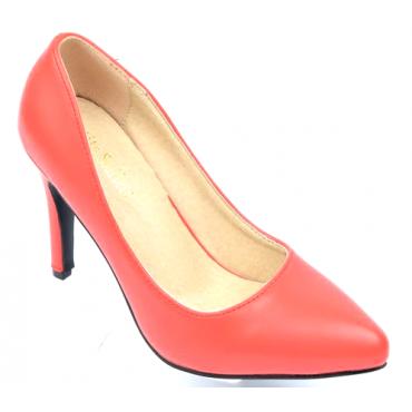 Escarpins femmes petites pointures, talons 7.5 cm, rouges corail, mates, Oxana