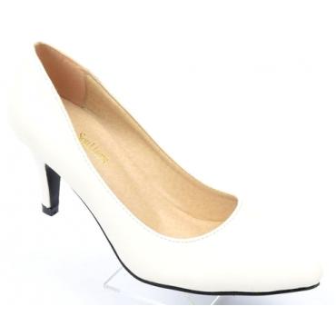 Escarpins femmes petites pointures, talons 7.5 cm, blancs, mates, Oxana
