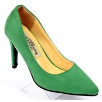 Escarpins, petites pointures, talons 9 cm, vert herbe, Sidji