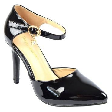 Escarpins petites pointures,vernis, brides, talons 9 cm, noires, Shada