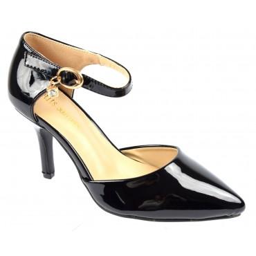 Escarpins petites pointures,vernis, brides, talons 7.5 cm, noires, Shada