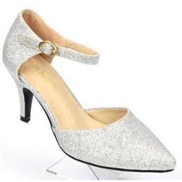 Escarpins petites pointures,pailletés, brides, talons 7.5 cm, argent, Shada