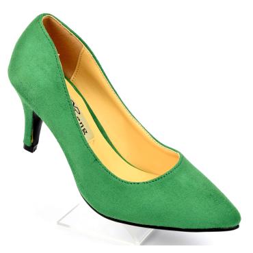 Escarpins, petites pointures, talons 7 cm, verts herbe, Naline