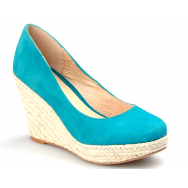 Chaussures femmes petites pointures espadrilles compensées bleues Sania