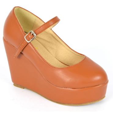 Chaussures femmes petites pointures compensées bride marrons Megane, confort