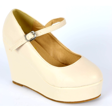 Chaussures femmes petites pointures compensées brides beiges Megane, confort