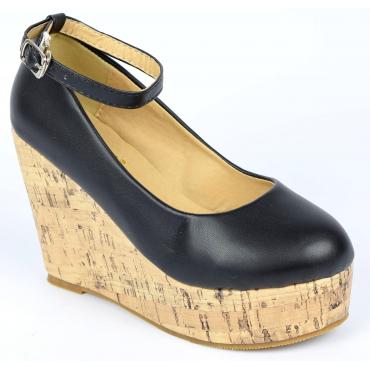 Chaussures femmes petites pointures compensées brides noires Danka, confort