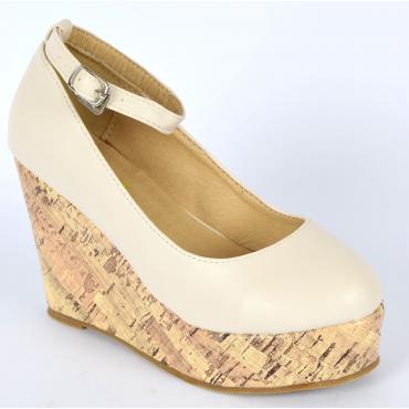 Chaussures femmes petites pointures compensées brides beiges Danka, confort