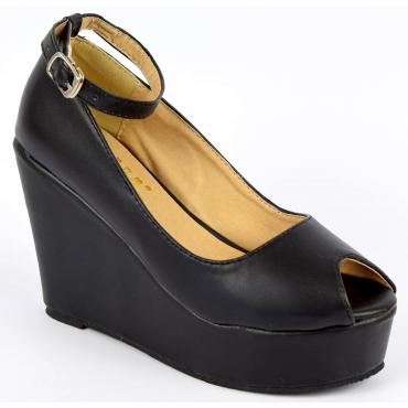 Chaussures femmes petites pointures compensées bride noires Varda, confort