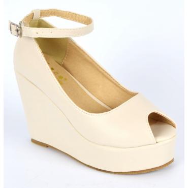 Chaussures femmes petites pointures compensées bride beiges Varda, confort