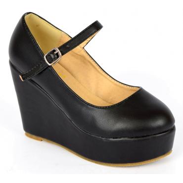 Chaussures femmes petites pointures compensées brides noires Megane, confort