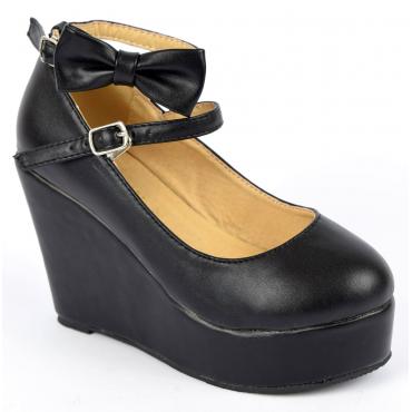 Chaussures femmes petites pointures compensées noires Fily