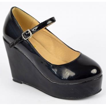 Chaussures femmes petites pointures compensées noires vernies Kayane