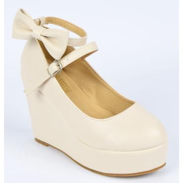Chaussures femmes petites pointures compensées beiges Fily