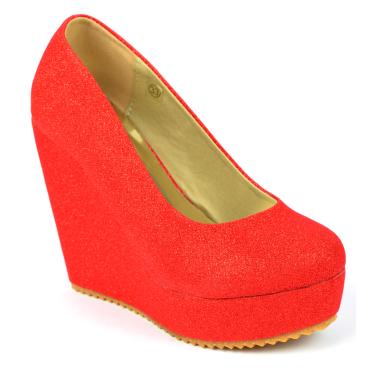 Escarpins compensés rouges pailletés, petites pointures,Fernanda