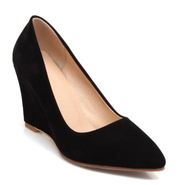 Chaussures compensées, bouts pointus, noires, Zena