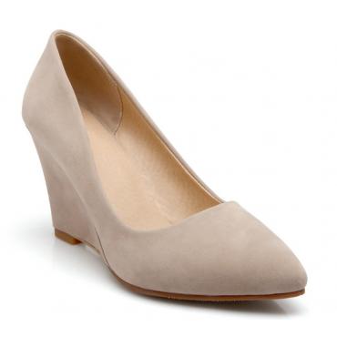 Chaussures compensées, bouts pointus, beiges, Zena