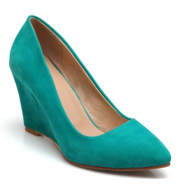 Chaussures compensées, bouts pointus, vertes, Zena