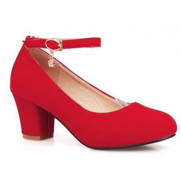 Escarpins, petits talons épais, brides, aspect daim, rouges, Lidie