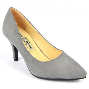 Escarpins, petites pointures, talons 7 cm, gris, Naline