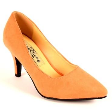 Escarpins, petites pointures, talons 7 cm, oranges, Naline