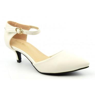 Escarpins petites pointures,mates, brides, talons 5 cm, blancs, Aliza