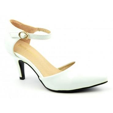 Escarpins petites pointures,vernis, brides, talons 7,5 cm, blancs, Shada
