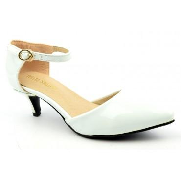Escarpins petites pointures,vernis, brides, talons 5 cm, blancs, Shada