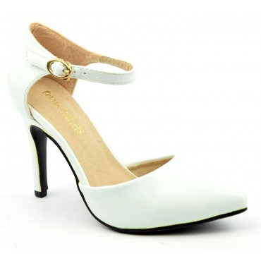Escarpins petites pointures,vernis, brides, talons 9 cm, blancs, Shada