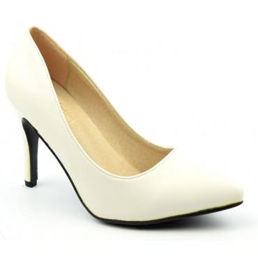 Escarpins femmes petites pointures, talons 9 cm, blancs, mates, Oxana