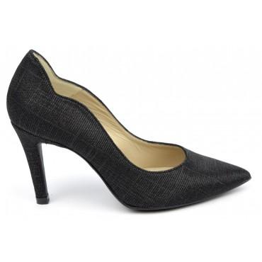 Escarpins cuir, pailletés noires, Brenda Zaro, bouts pointus, Talons 8 cm, F1059A, téva