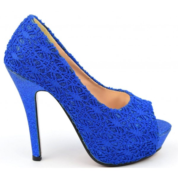 Escarpins bouts ouverts bleus dentelle Mahaut