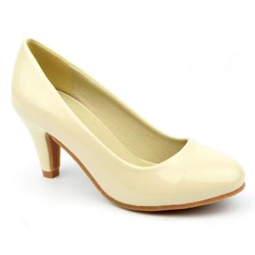 Escarpins petites pointures pour femmes, vernis, beiges, Alix