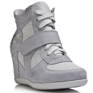 Baskets compensées grises Wanda