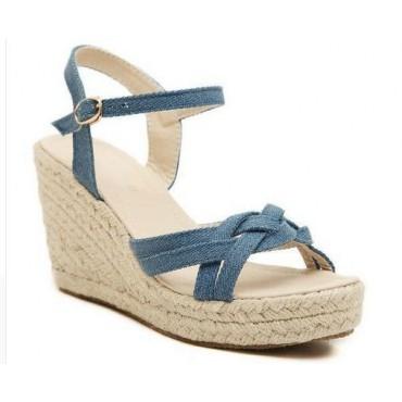 Sandales compensées, jean, bleues, Isma, femmes petites pointures
