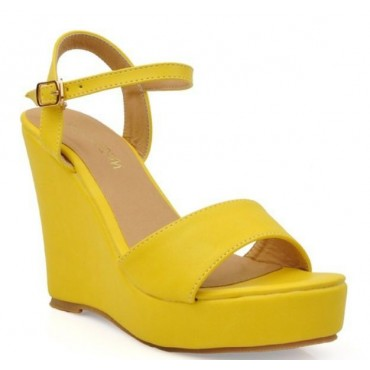 Sandales compensées Jaunes Gwenaelle