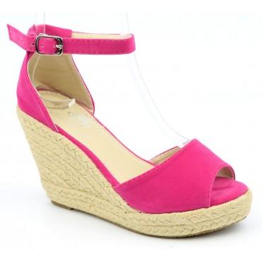 Sandales compensées fushias Delphina