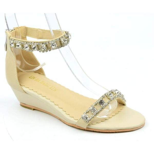 Sandales compensées beiges Shakira