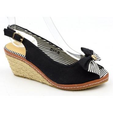 Sandales petits talons compensés noires Marina